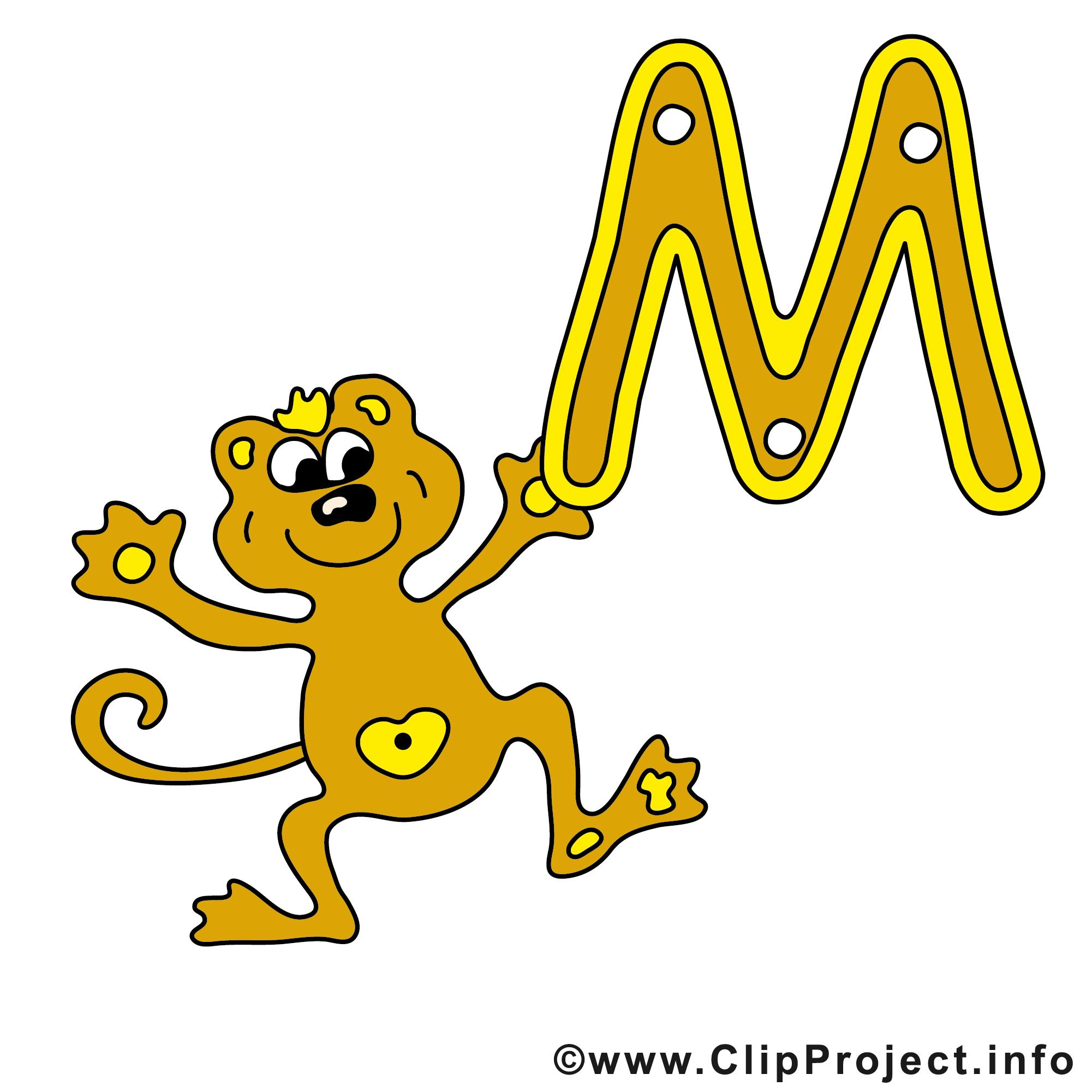 m monkey clip art gratuit  alphabet english images