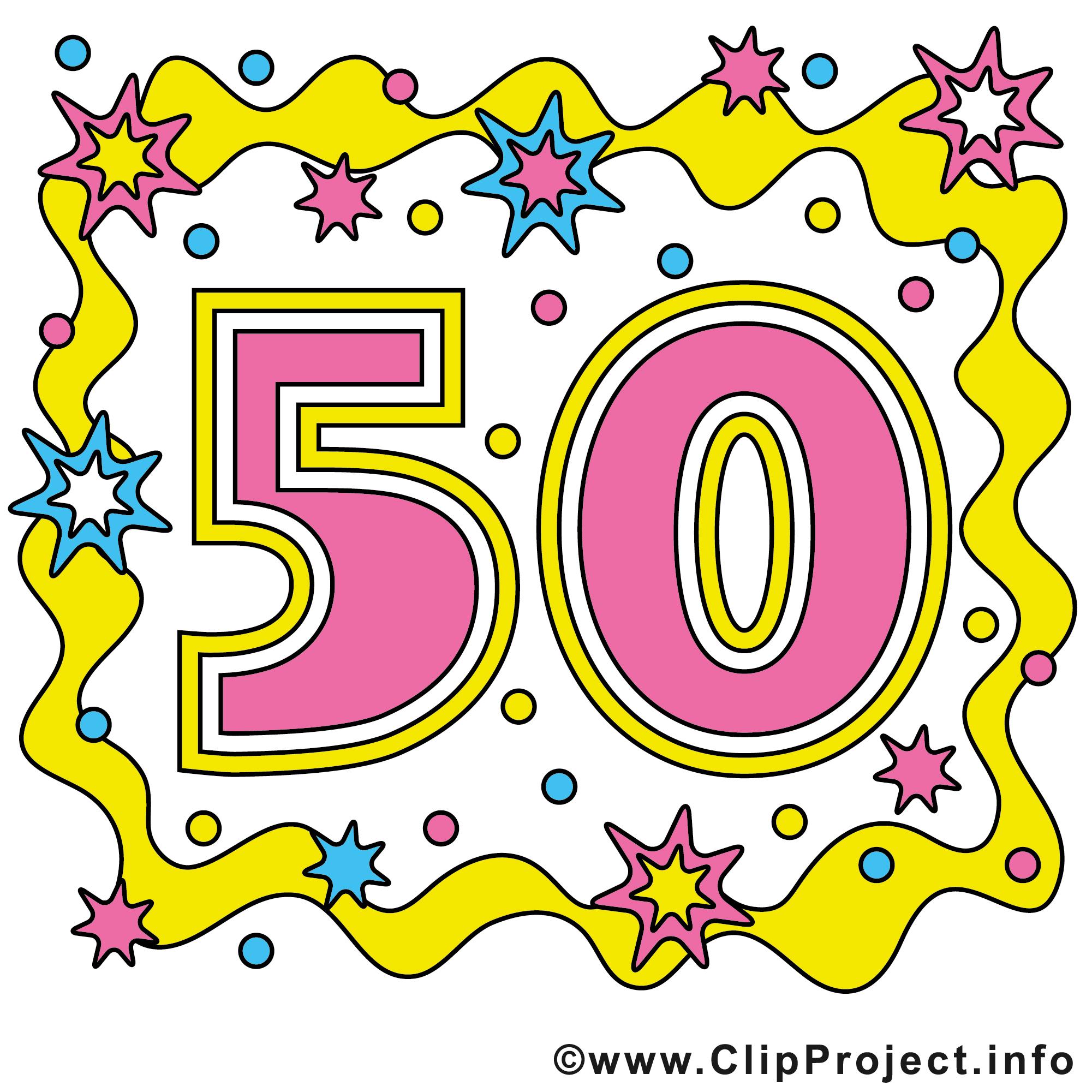 50 ans clip arts gratuits - Anniversaire illustrations - Anniversaire dessin, picture, image ...