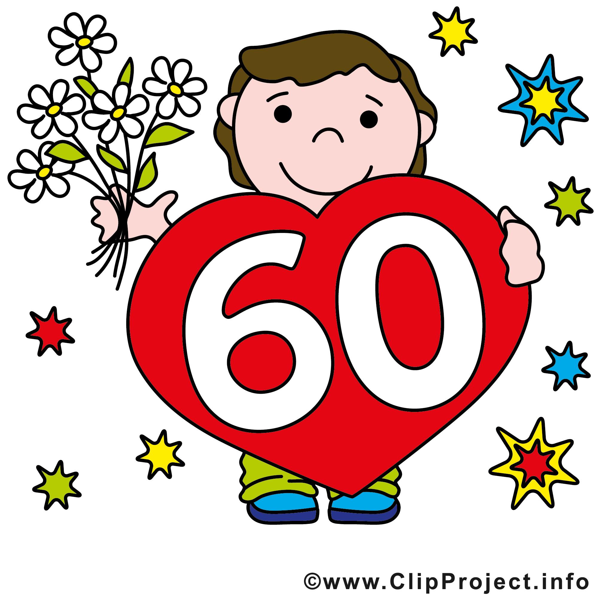60 ans illustration gratuite anniversaire clipart anniversaire dessin picture image - Clipart anniversaire 60 ans ...