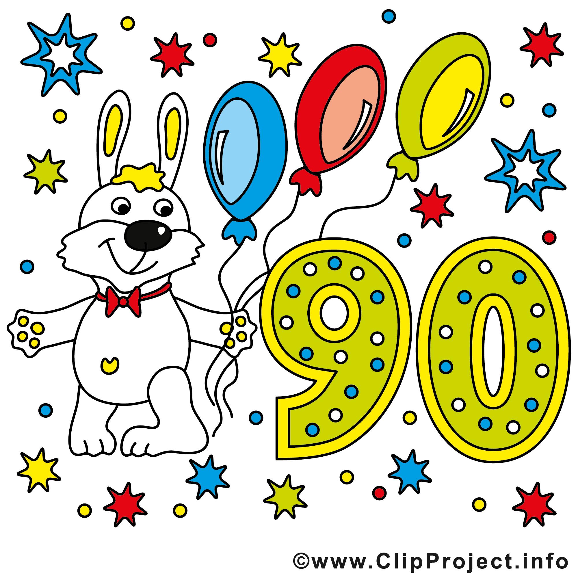 Lapin 90 ans clip art anniversaire image gratuite - Clipart anniversaire gratuit ...