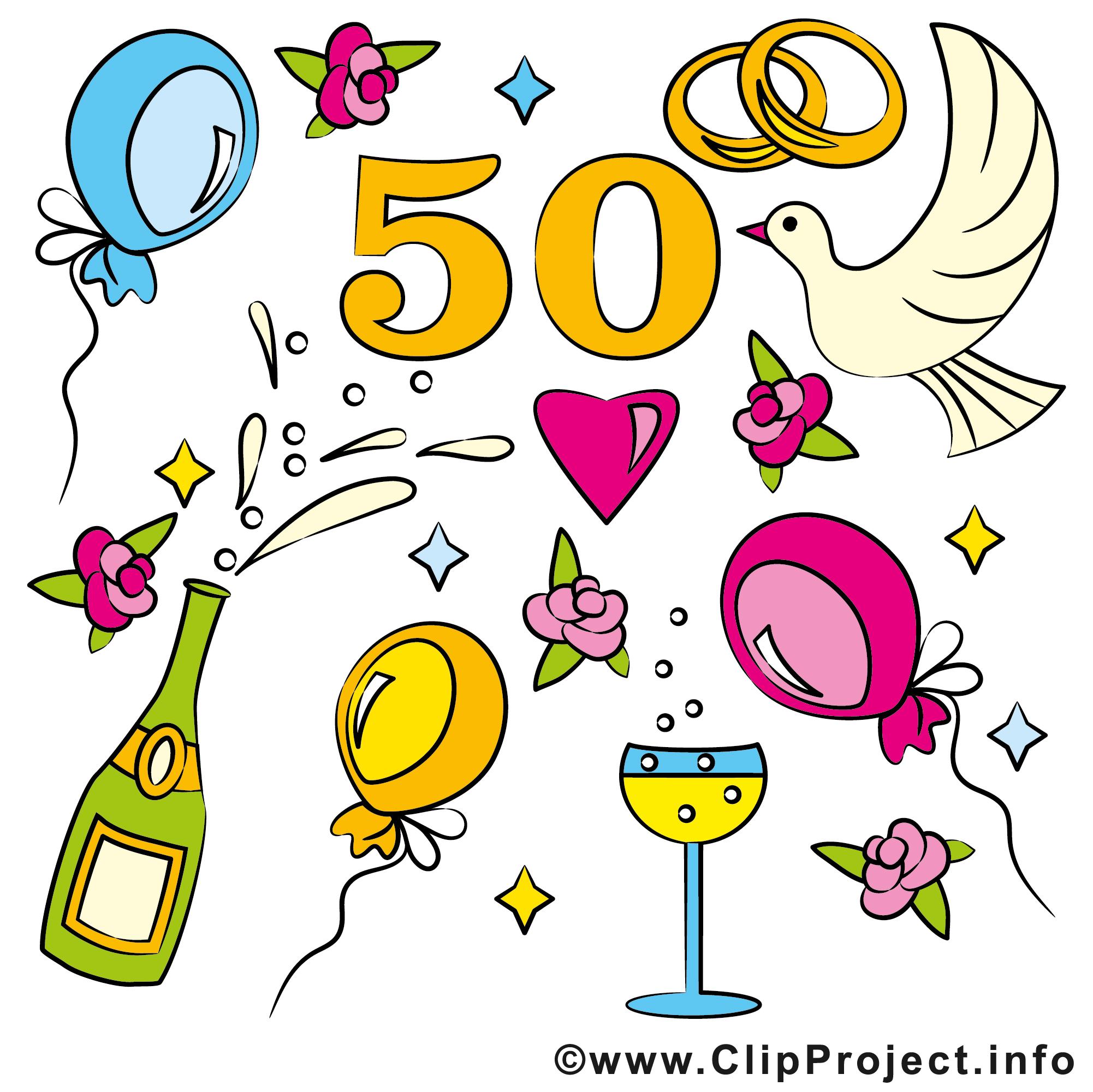 Coloriage anniversaire de mariage 50 ans - Dessin anniversaire de mariage ...