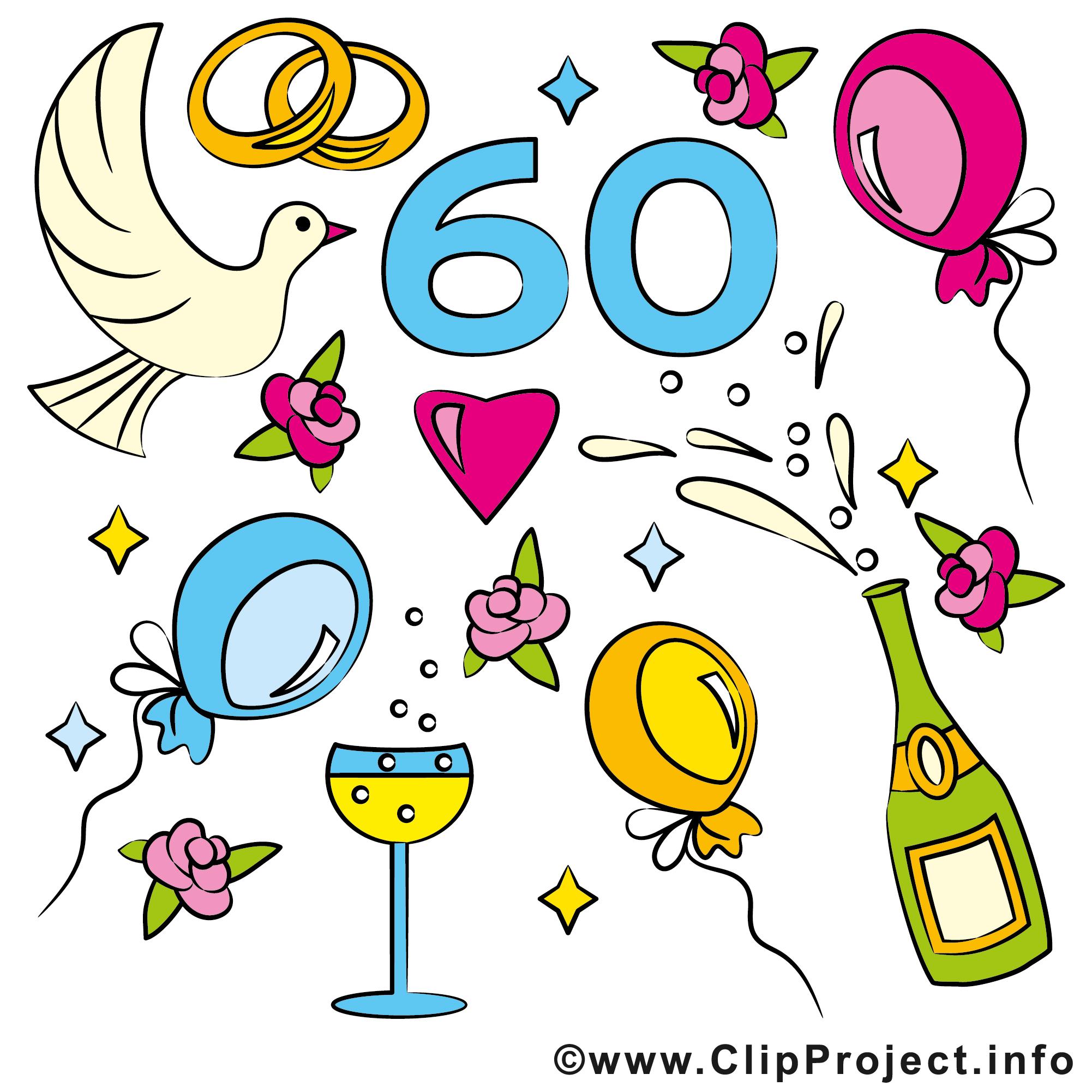 60 ans champagne anniversaire mariage dessin - Dessin pour anniversaire 60 ans ...