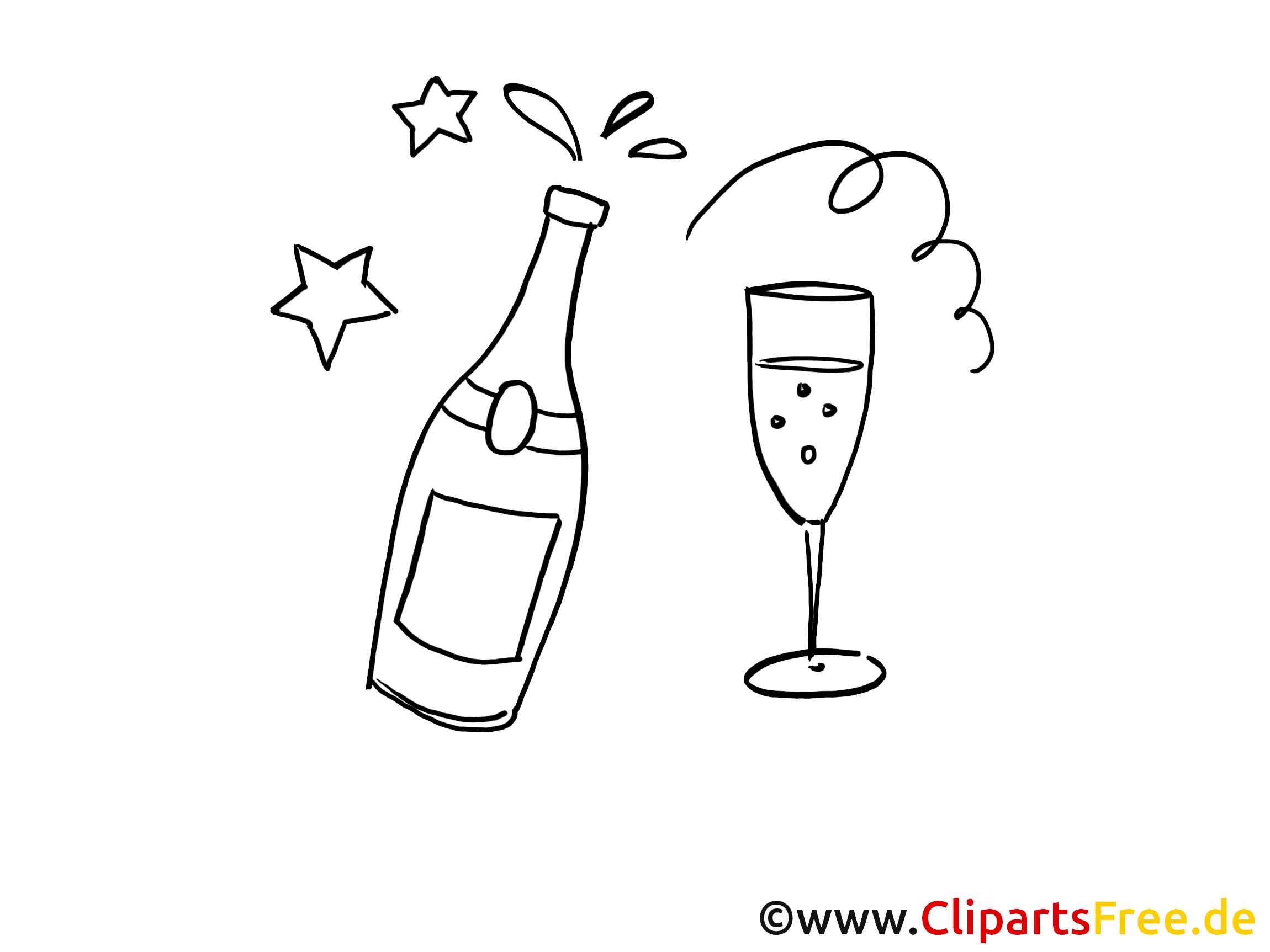 Champagne clipart à colorier - Anniversaire images ...