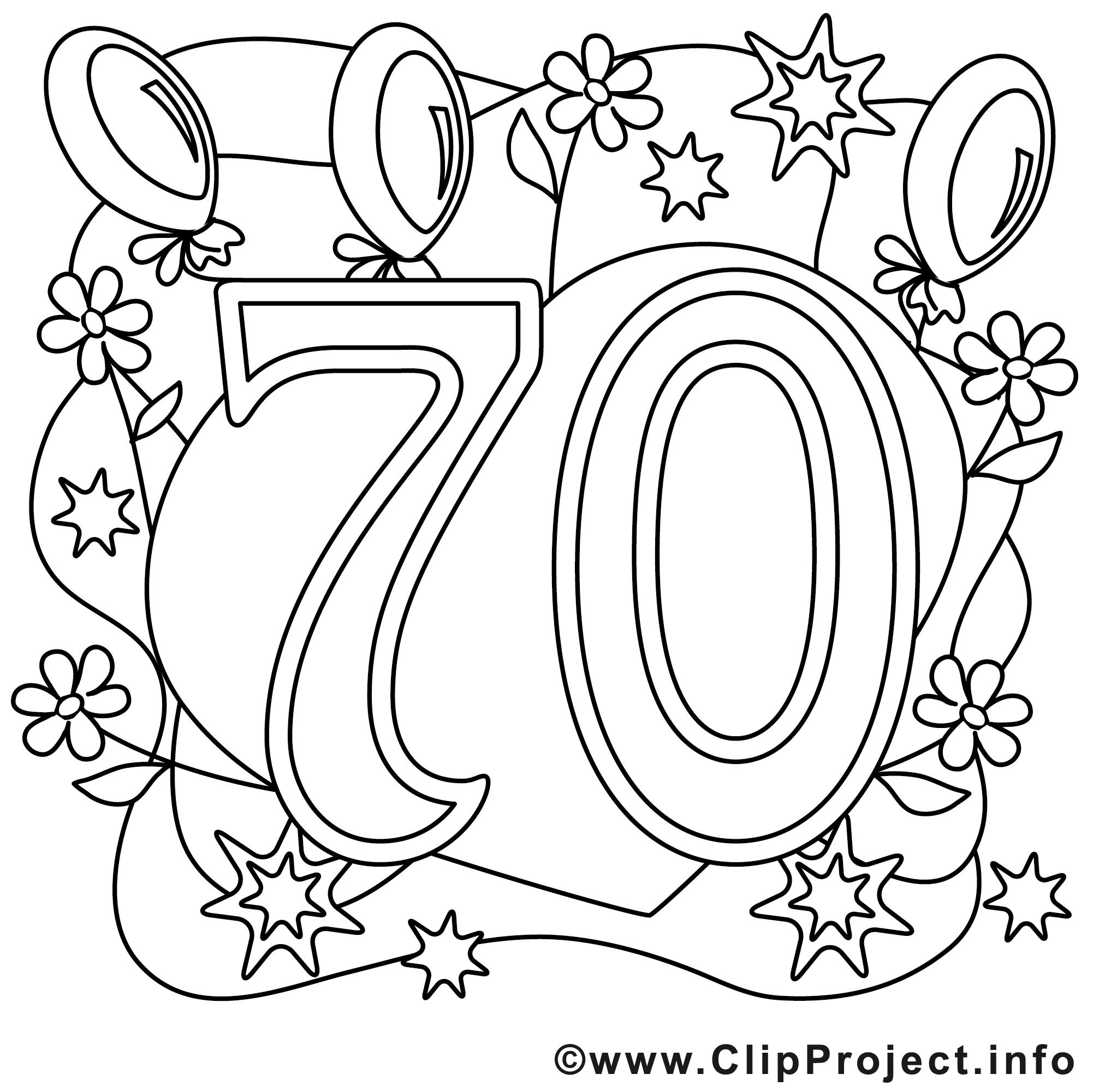 70 ans dessin gratuit  anniversaire à colorier