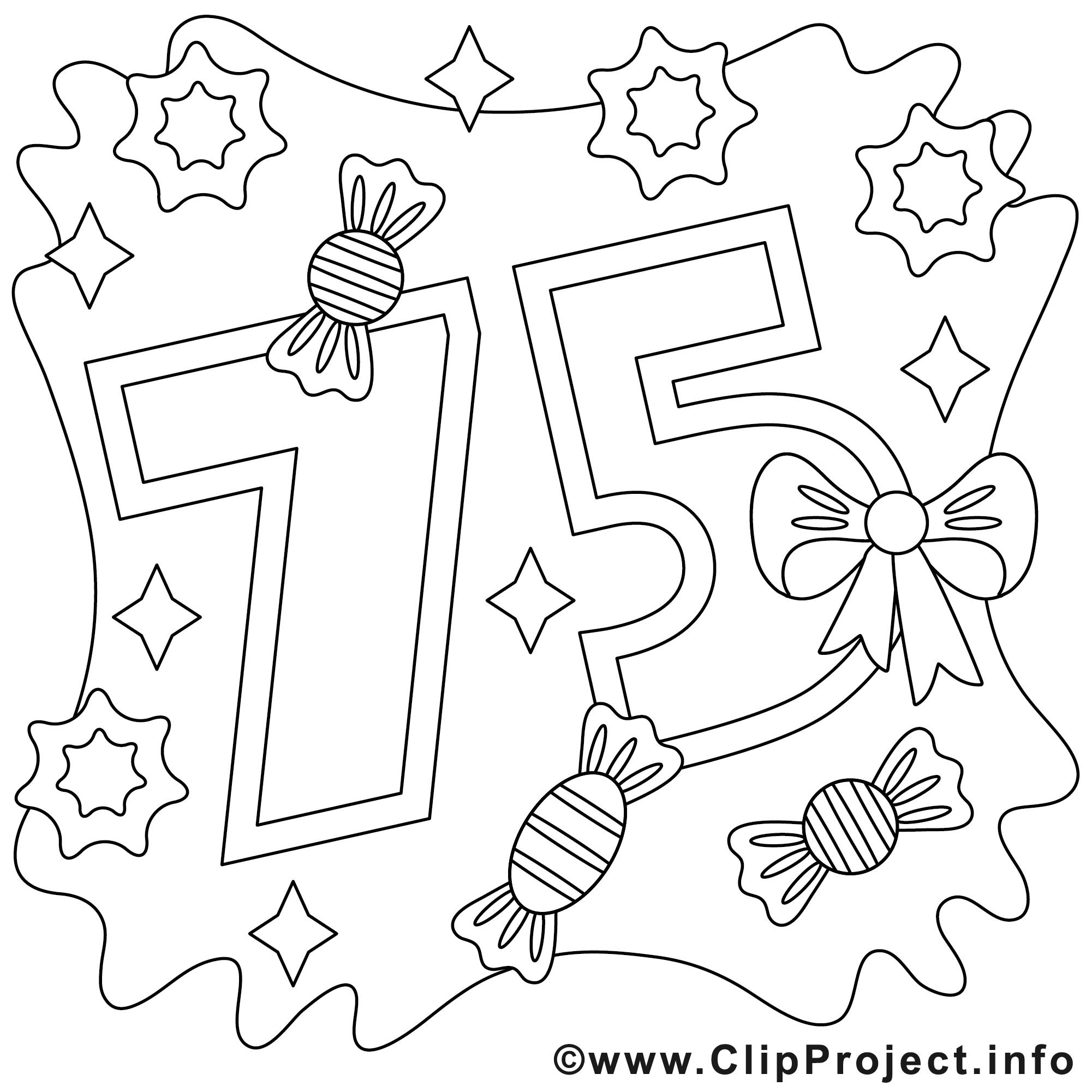 75 ans clip art gratuit  anniversaire à colorier