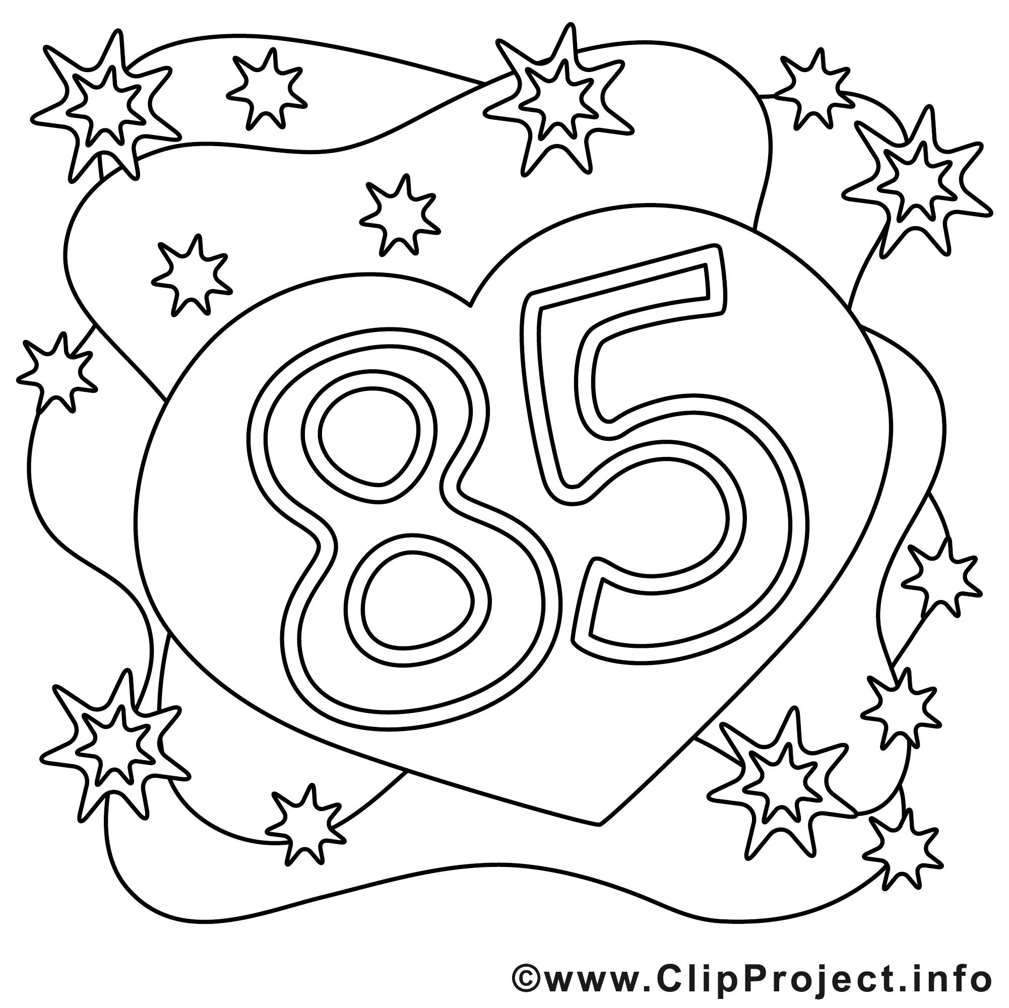85 ans dessin à télécharger  anniversaire à colorier