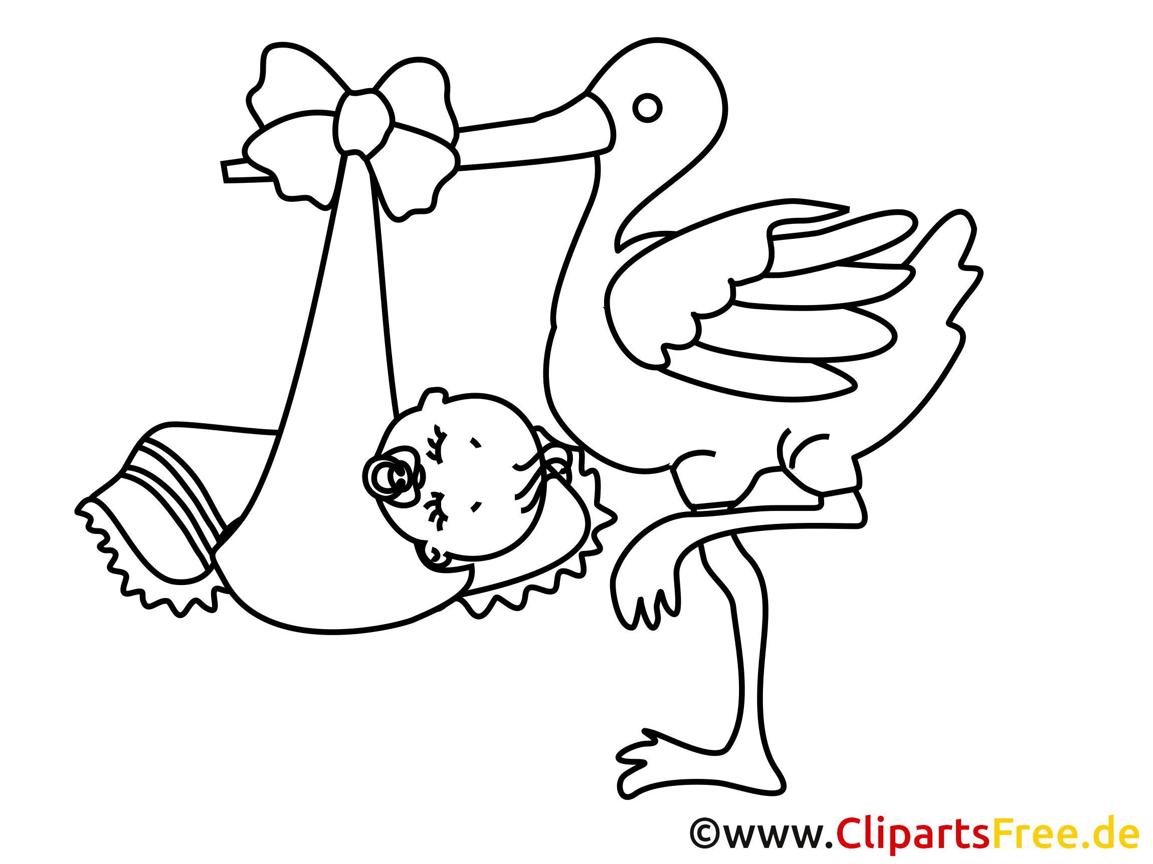 dessin gratuit cigogne  bébé à colorier  bébé coloriages