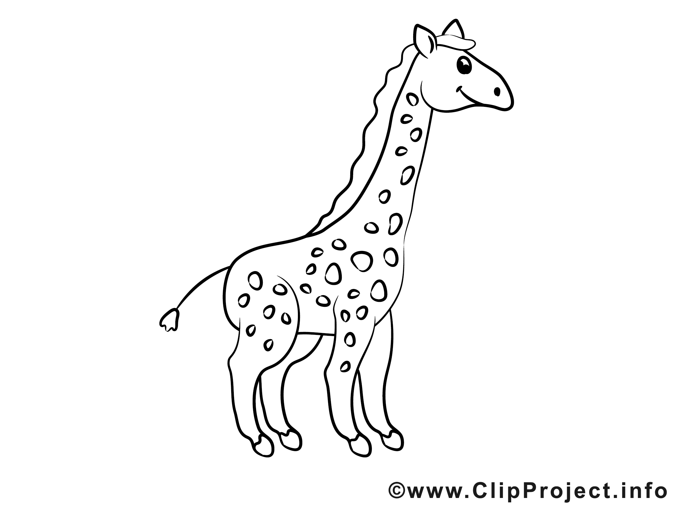Coloriage Voiture Girafe.Girafe Illustration A Colorier Clipart Divers Pages A