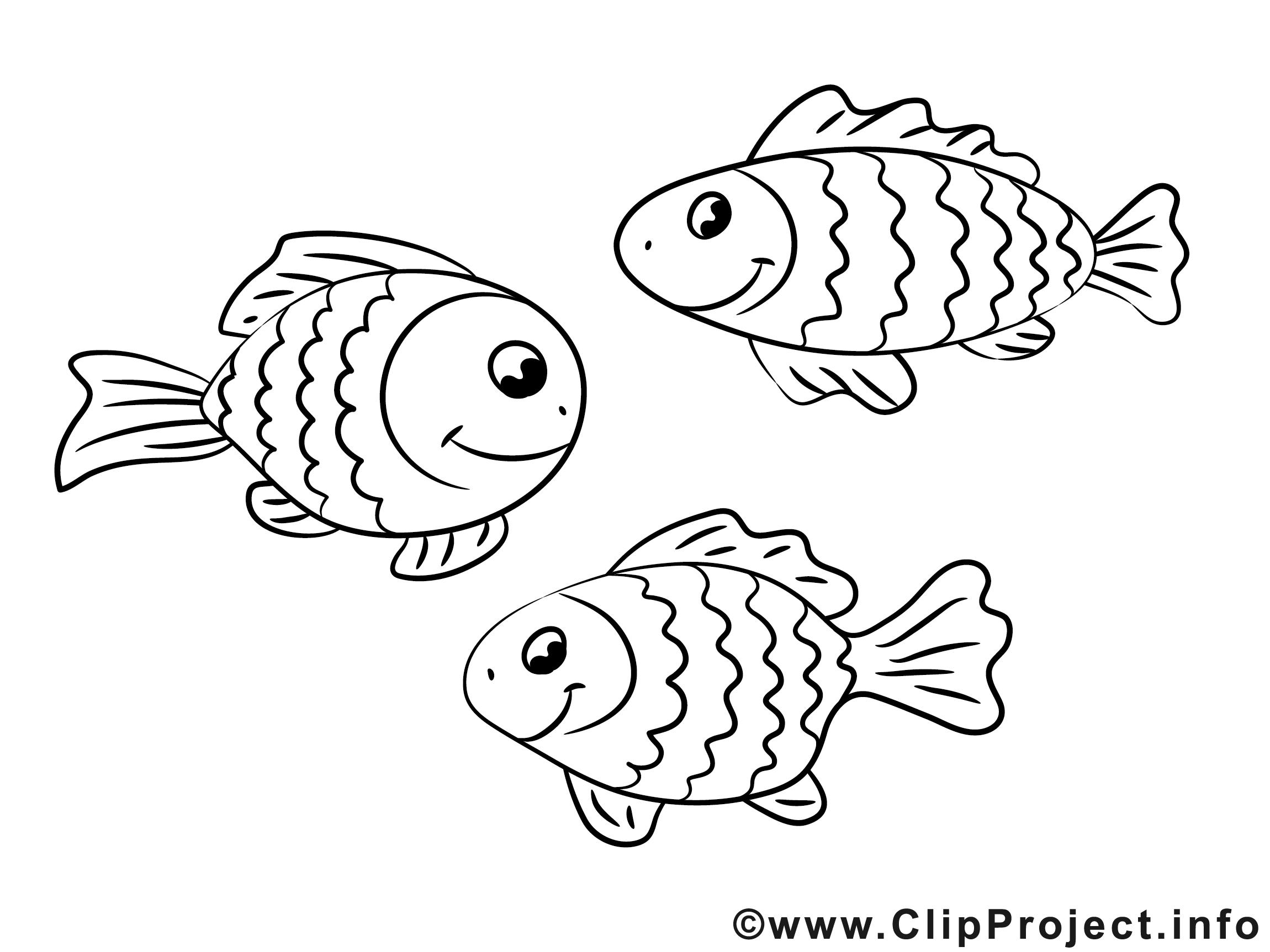 poissons dessin à imprimer clip arts gratuits  divers