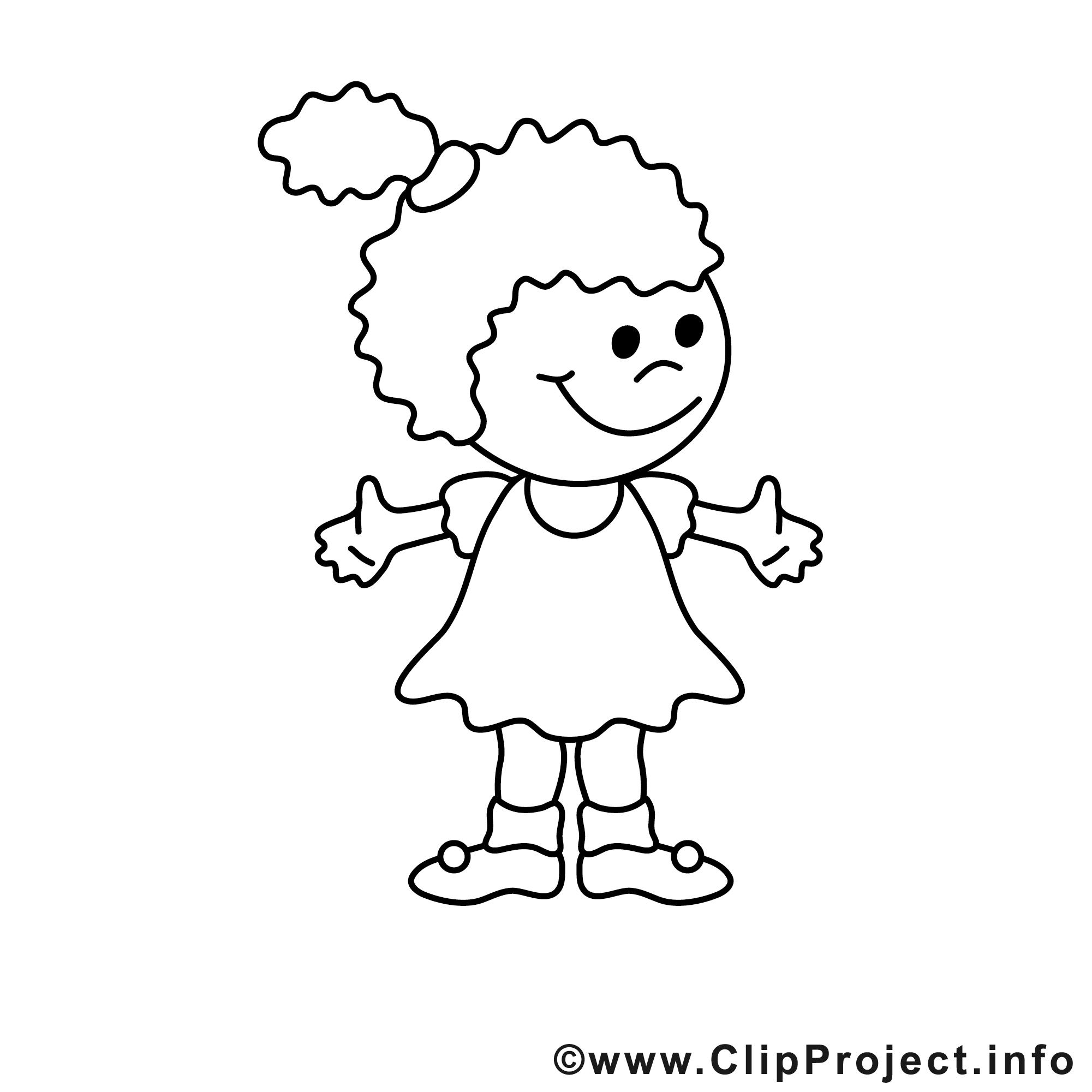 Petite fille image gratuite enfants colorier enfants - Fille a colorier ...