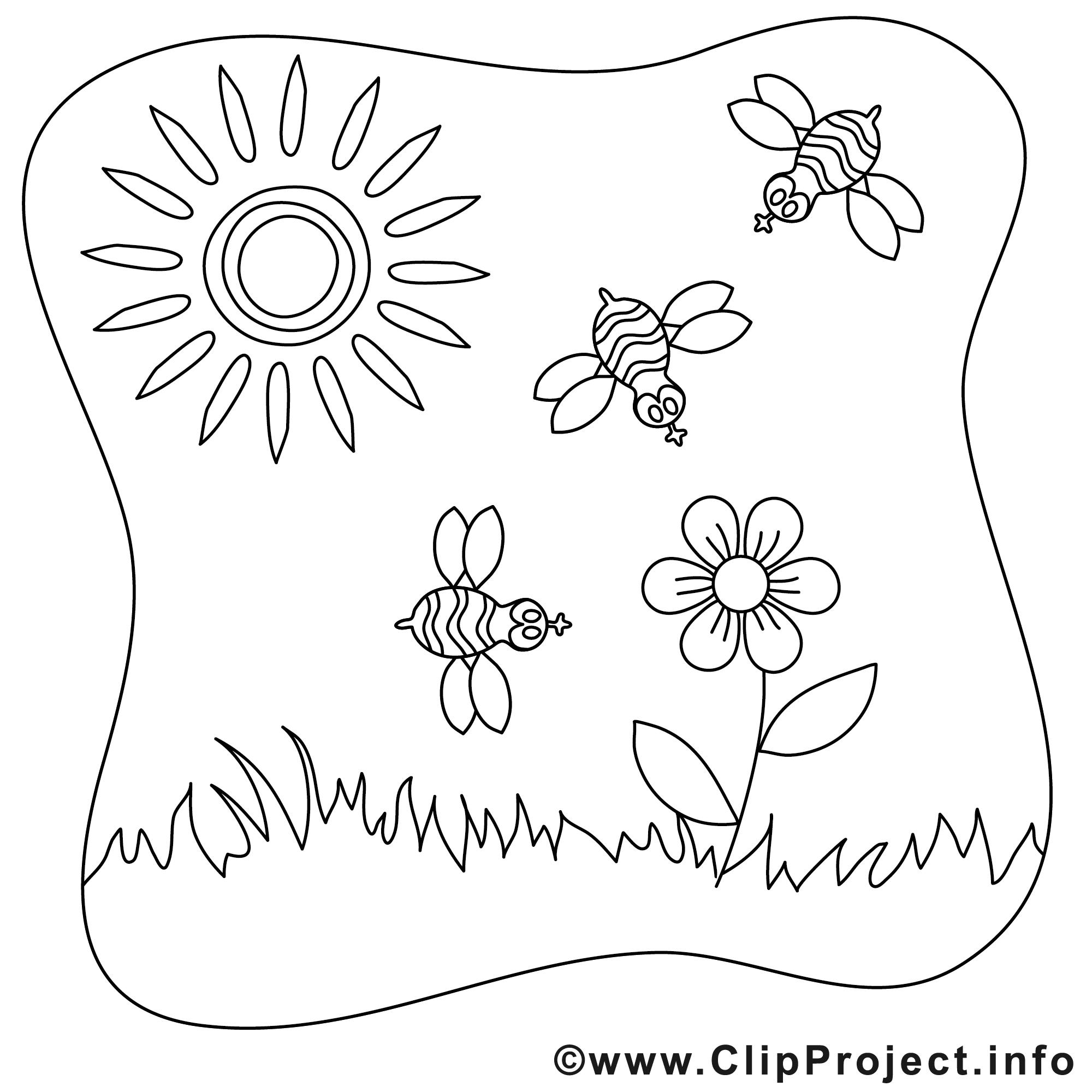 abeilles soleil images gratuites  Été à colorier  Été