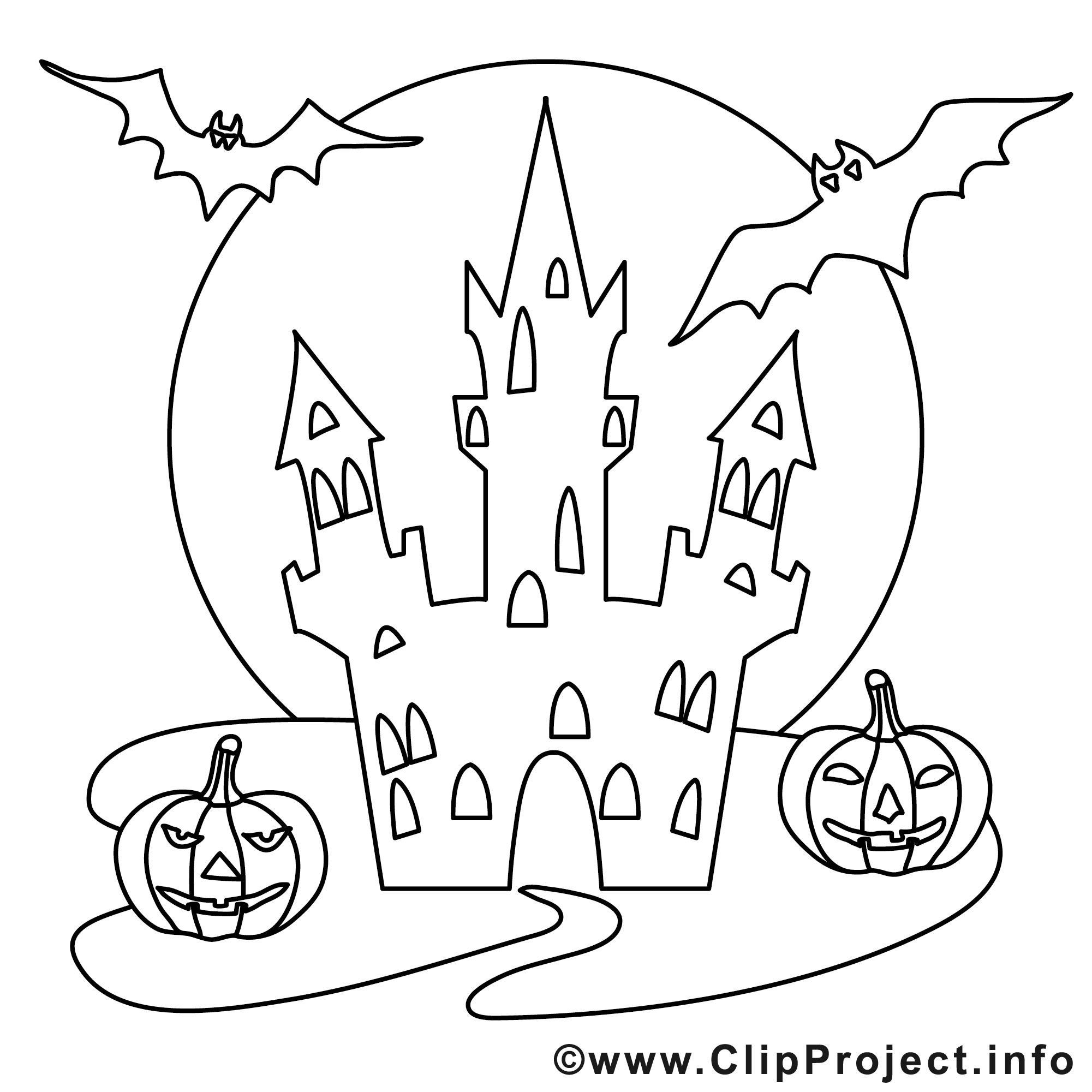 château dessin gratuit  halloween à colorier  halloween