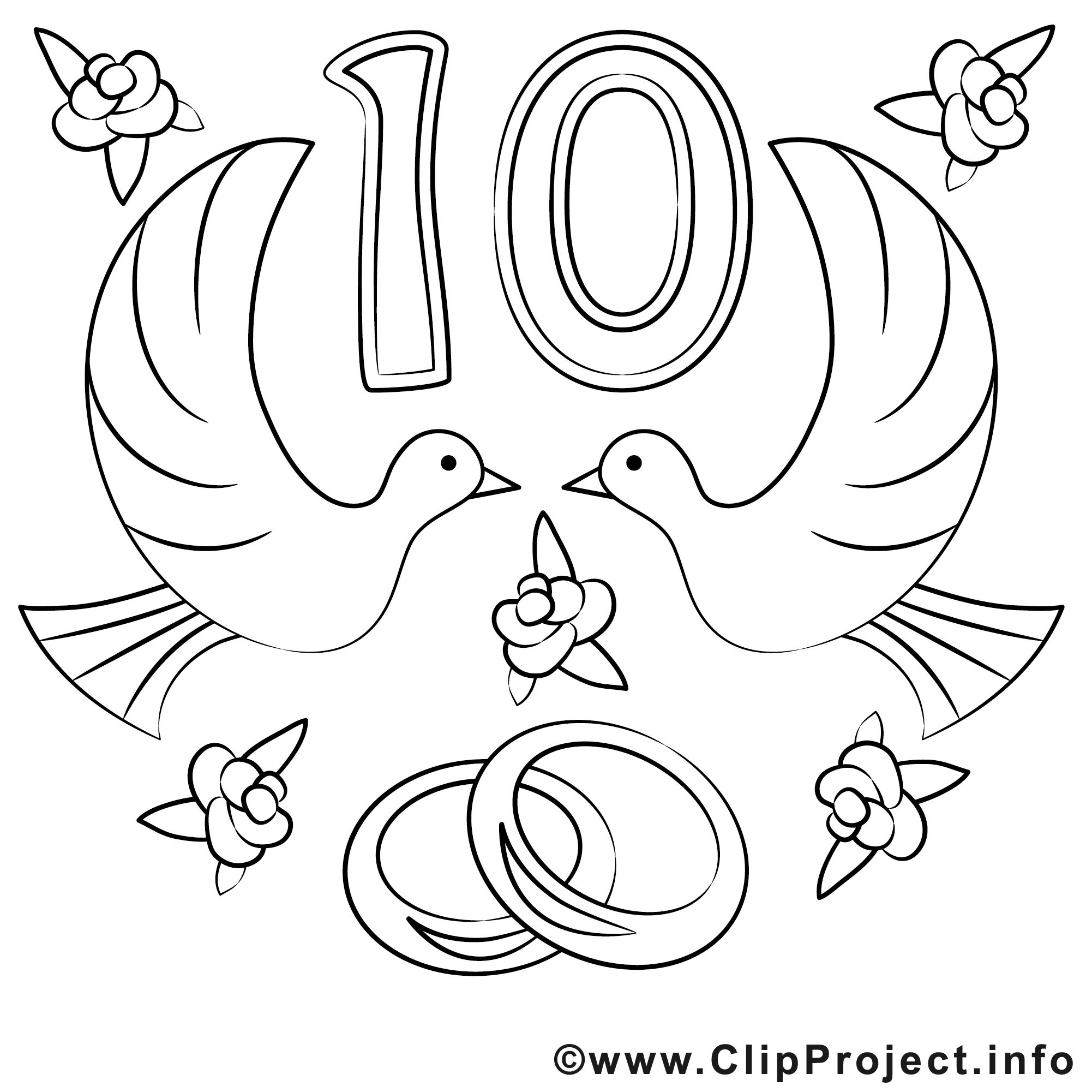 10 ans image - Coloriage mariage illustration - Mariage ...