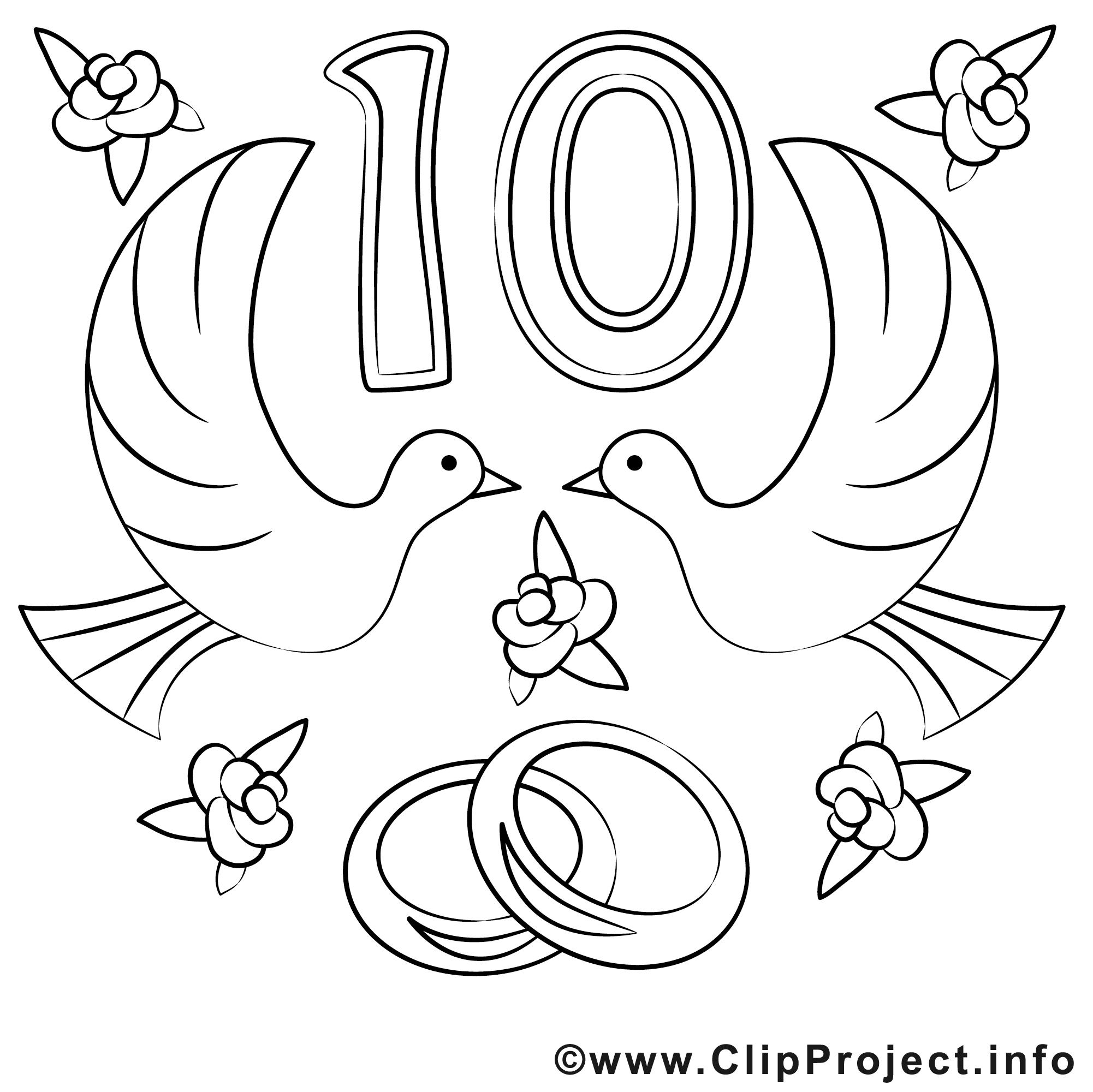 10 ans image coloriage mariage illustration mariage coloriages dessin picture image - Dessin anniversaire de mariage ...