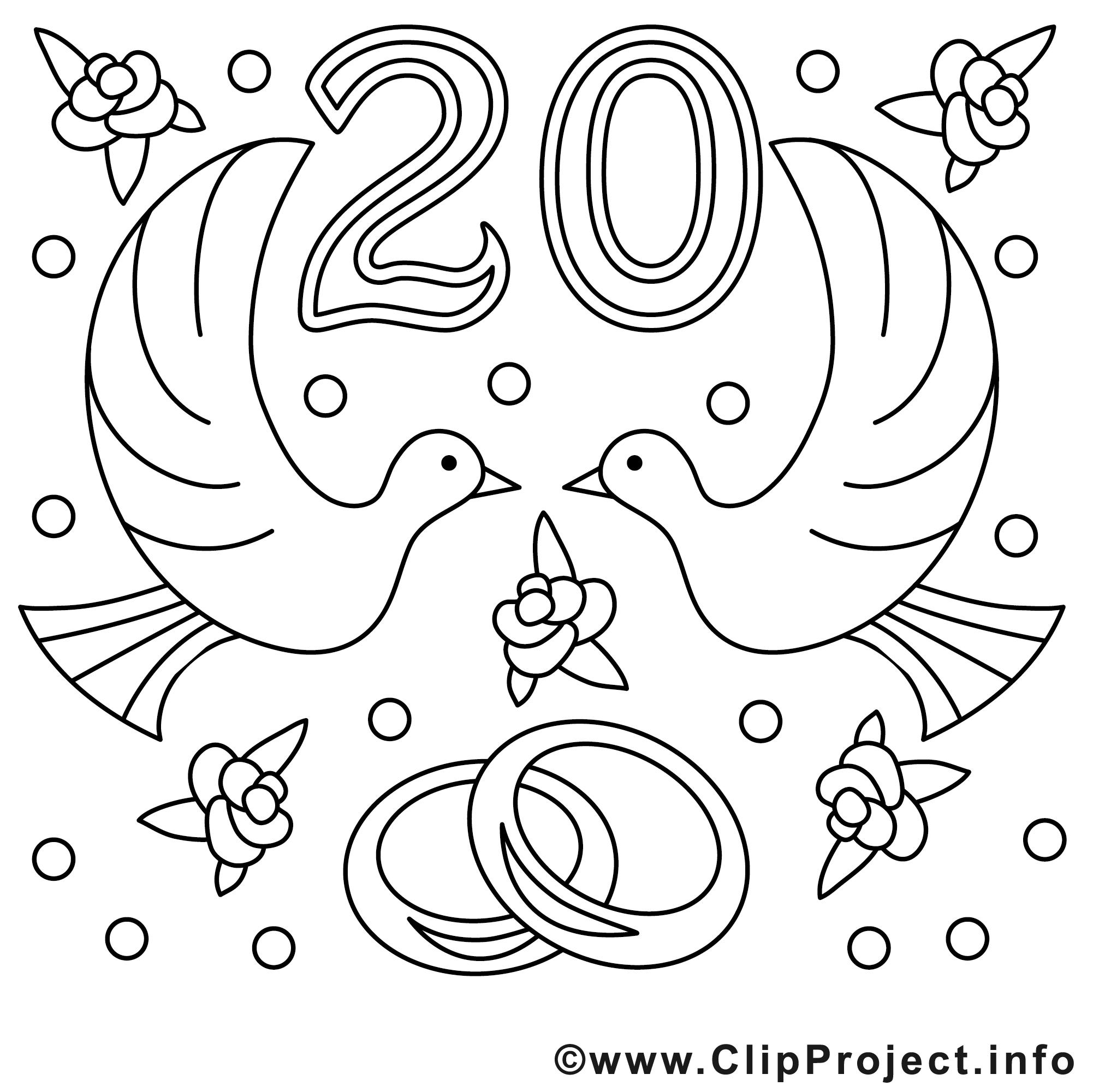 20 ans illustration mariage colorier mariage coloriages dessin picture image graphic - Dessin anniversaire 20 ans ...