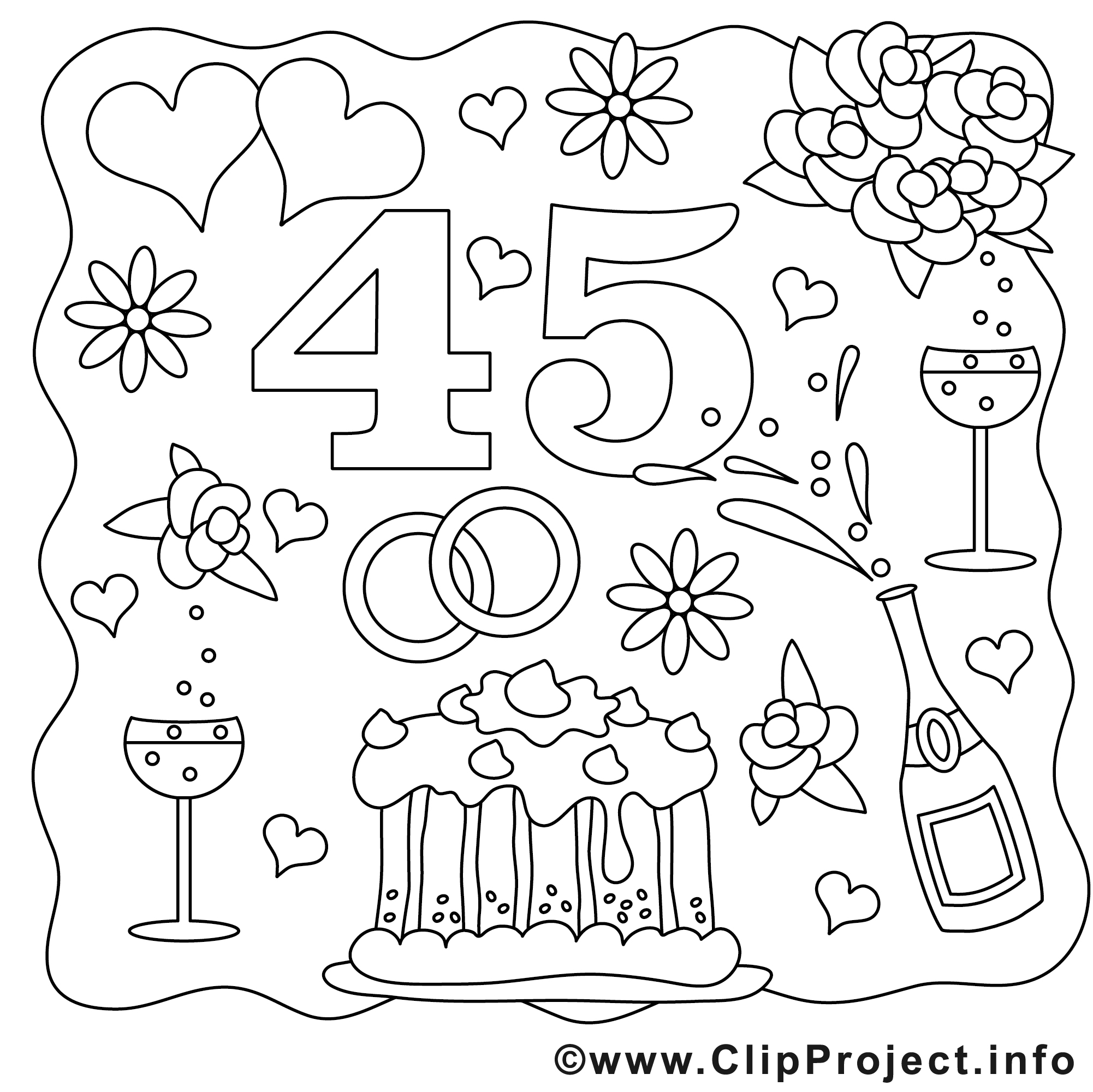 45 ans dessin - Mariage gratuits à imprimer - Mariage ...