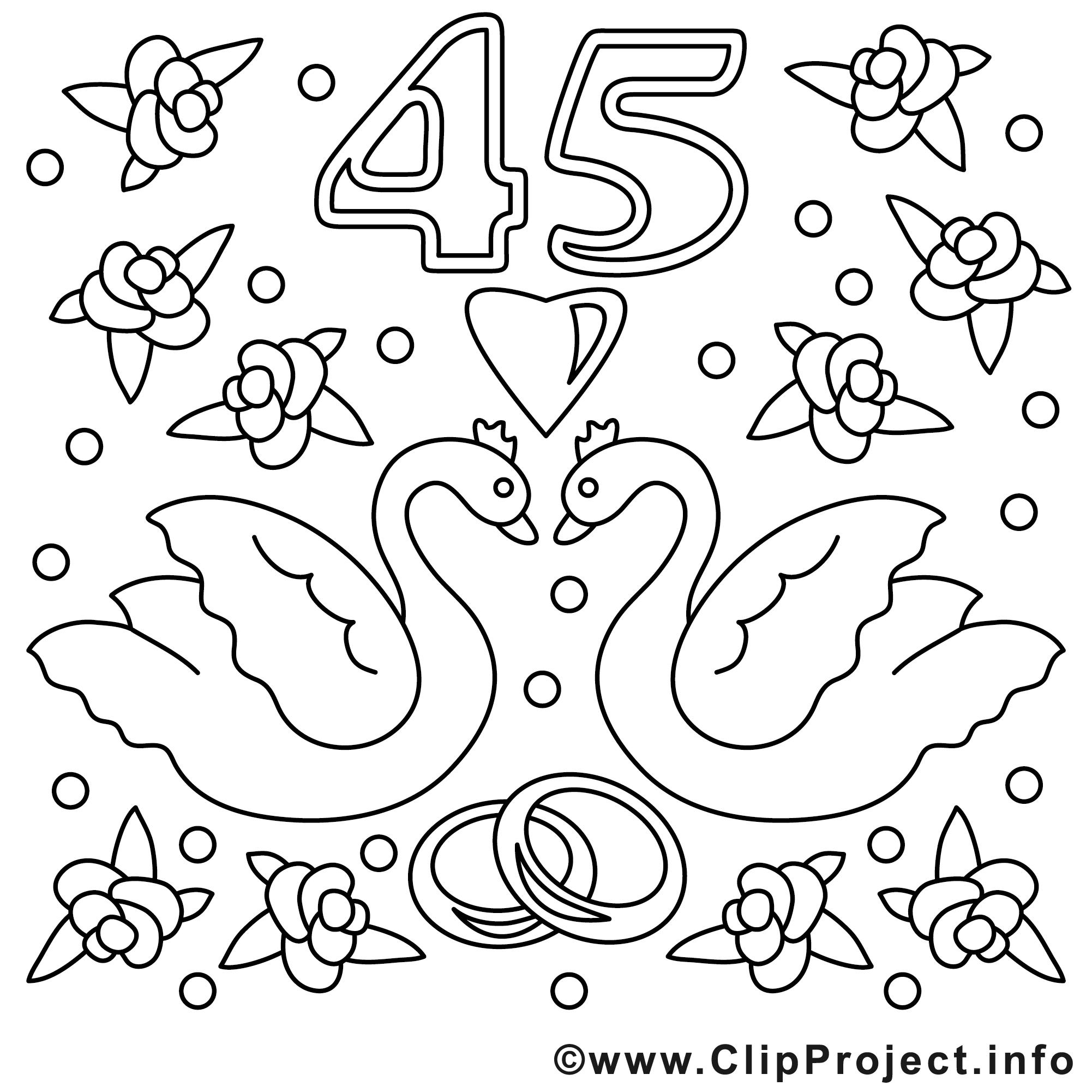 45 Ans Illustration Mariage A Colorier Mariage Coloriages Dessin