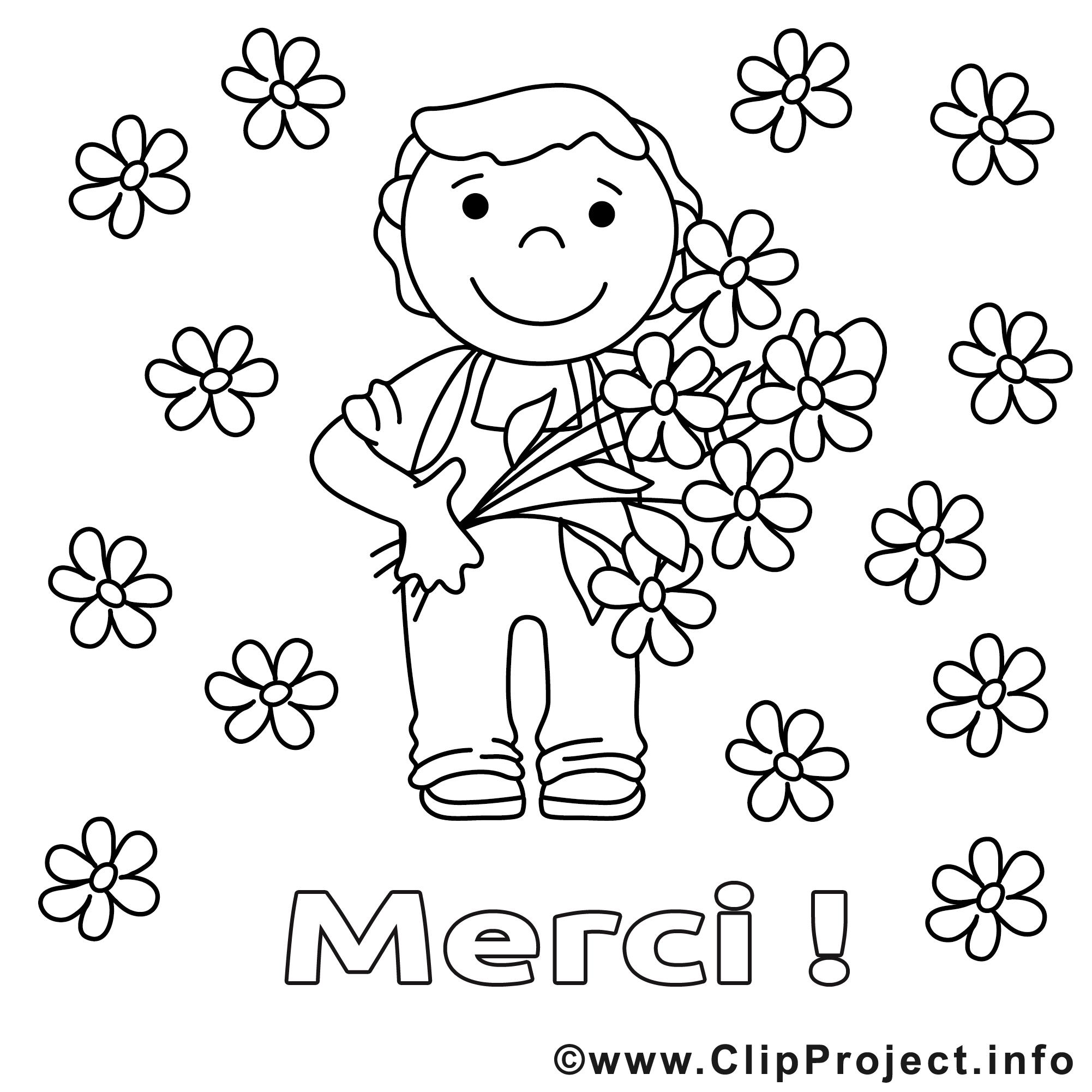 fleurs dessins gratuits  merci à colorier  merci