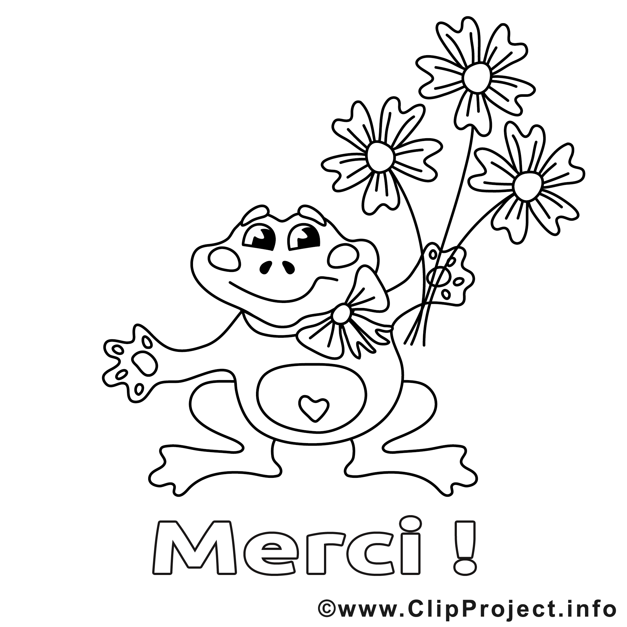 Grenouille image – Coloriage merci illustration   Merci coloriages ...