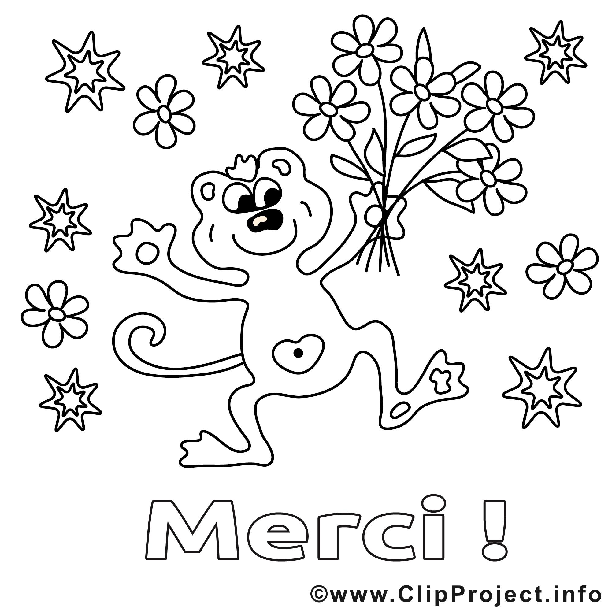 Singe dessin – Coloriage merci à télécharger   Merci coloriages ...