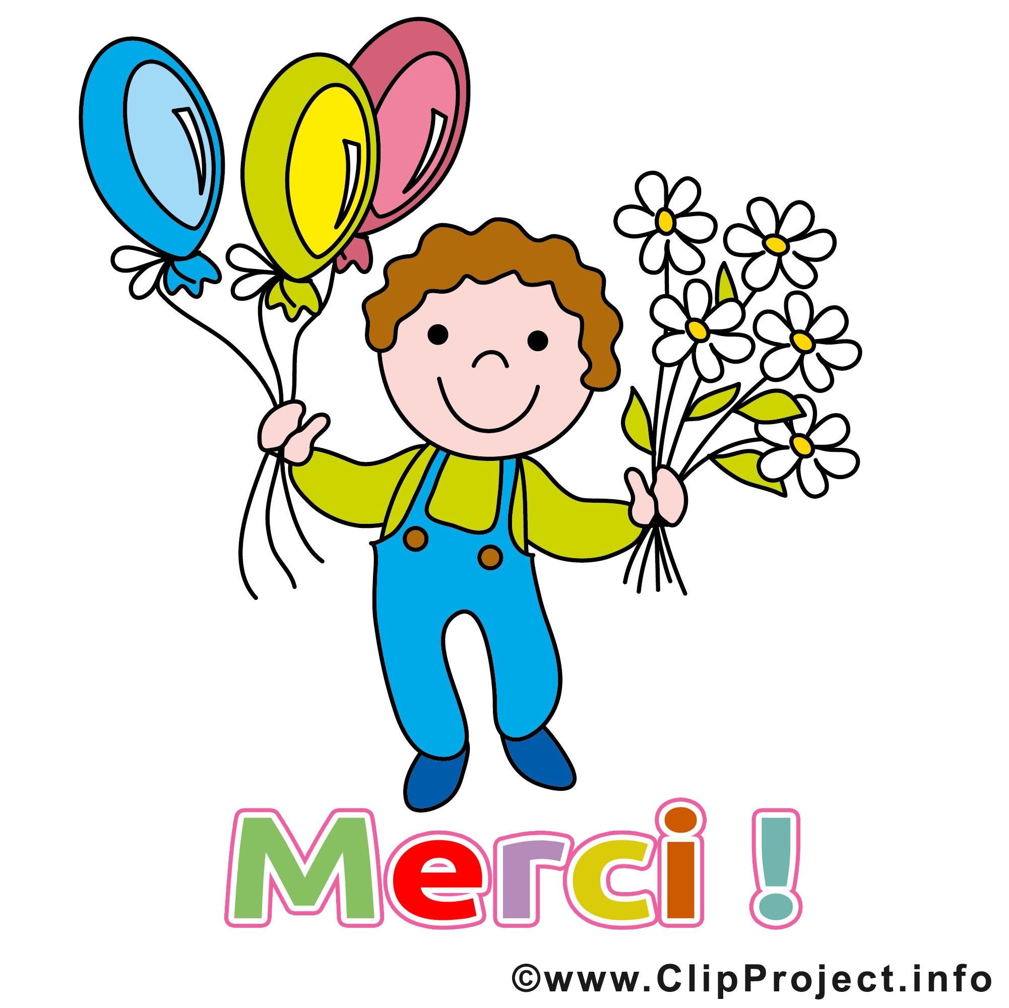 Garçon ballons dessin - Merci clip arts gratuits - Merci ...