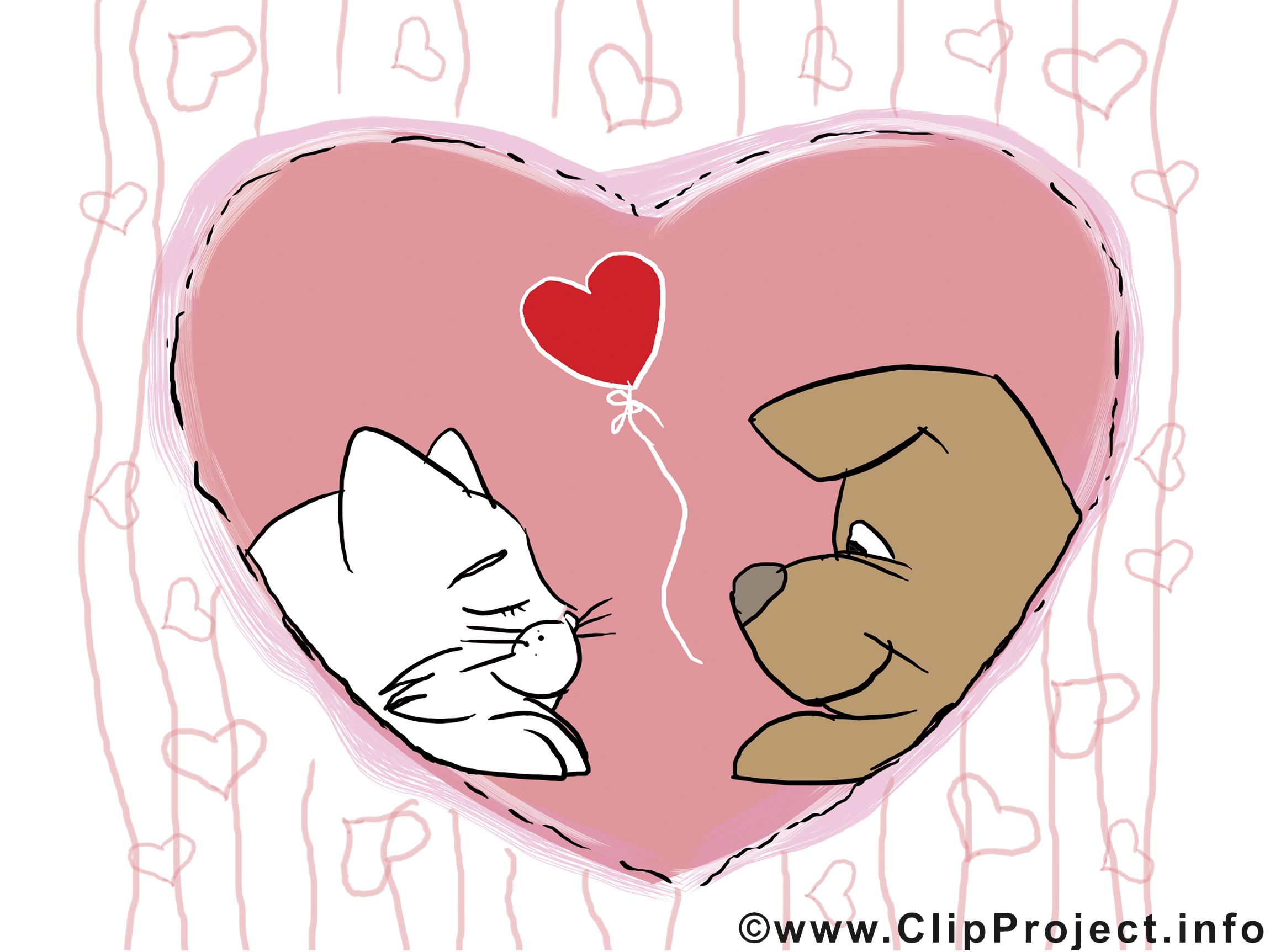 Chien et chat dessin gratuit saint valentin saint - Image st valentin a telecharger gratuitement ...