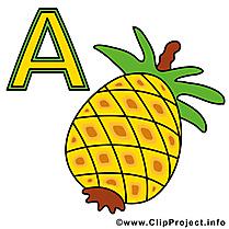 A ananas clip art – Alphabet allemand image gratuite