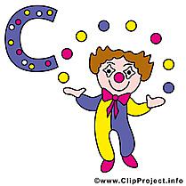 C clown images – Alphabet allemand clipart