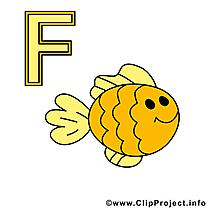 F fisch illustration – Alphabet allemand clipart