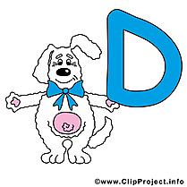 D dog dessin – Alphabet english clip arts gratuits
