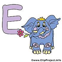 E elephant image à télécharger – Alphabet english clipart