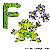 F frog illustration gratuite – Alphabet english clipart