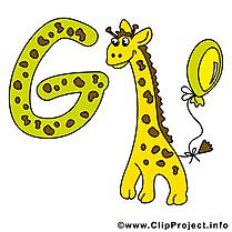 G giraffe dessin – Alphabet english à télécharger