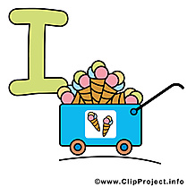 I ice cream dessin à télécharger – Alphabet english images