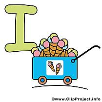 I ice cream dessin à télécharger – Alphabet english images