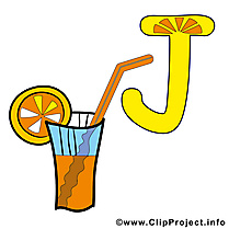 J juice clip arts gratuits – Alphabet english illustrations