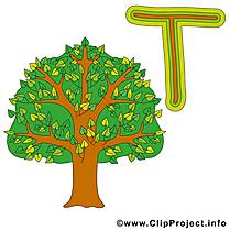 T tree dessins gratuits – Alphabet english clipart