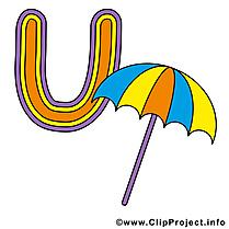 U umbrella clip art gratuit – Alphabet english dessin