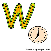 W watch alphabet english illustration à télécharger gratuite