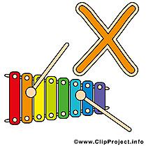 X xylophone images – Alphabet english clip art gratuit