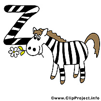 Z zebra dessin – Alphabet english à télécharger