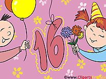 16 ans clip arts gratuits – Anniversaire illustrations