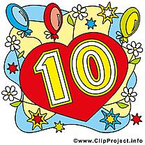 Ballons 10 ans clipart gratuit – Anniversaire images