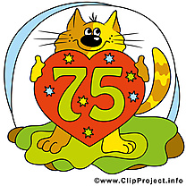 Chat 75 ans illustration – Anniversaire images