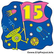 Extraterrestre 15 ans clip art gratuit – Anniversaire dessin