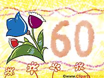 Fleurs 60 ans clip arts gratuits – Anniversaire illustrations