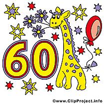 Girafe 60 ans images – Anniversaire clip art gratuit