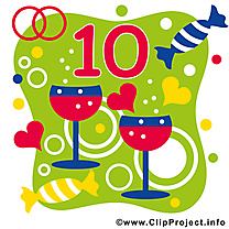10 ans anniversaire mariage clip arts gratuits