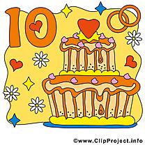10 ans anniversaire mariage clipart