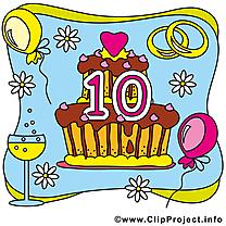 10 ans gâteau anniversaire mariage clip art gratuit